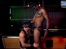 Hot black muscled leather stud gets his Big Cock sucked by a muscle dad