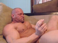 bald bodybuilders cums unto his own face 0519 5