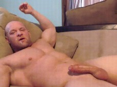 bald bodybuilders cums unto his own face 0631 3