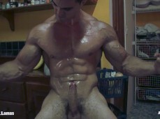 Boned Up Chiseled Muscle Jock alain lamas flexes with hard-on 0328 3